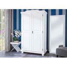20900100 - Solid Wood Hedda 2-Door Wardrobe, Whitewash. 4 Shelves Included