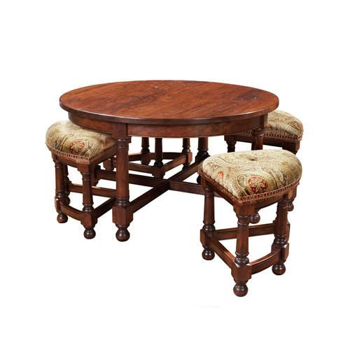 Round Tail Table With Nesting Stools, Mackenzie Dow Furniture