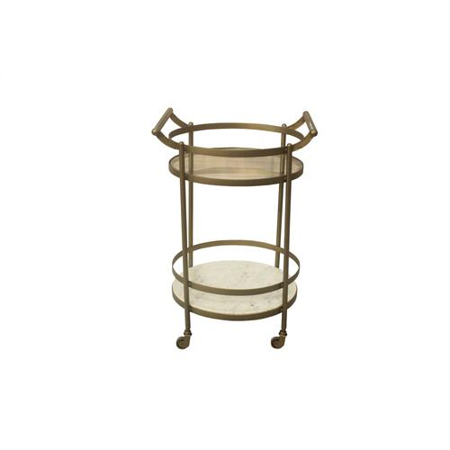 Vine Grove Metal, Marble, and Glass Bar Cart