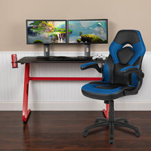 Red Gaming Desk and Blue\/Black Racing Chair Set with Cup Holder and Headphone Hook