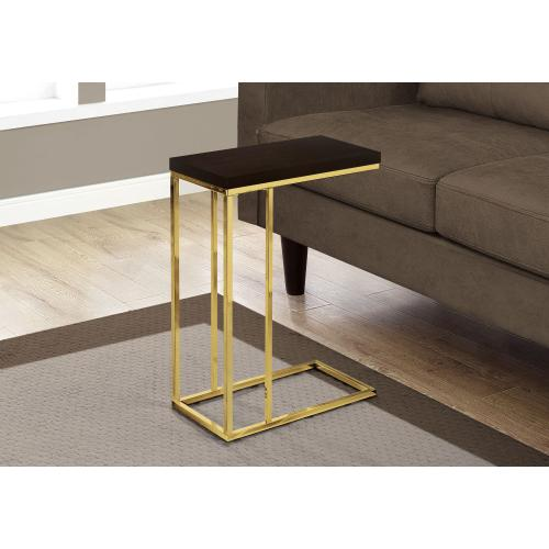 ACCENT TABLE - ESPRESSO / GOLD METAL