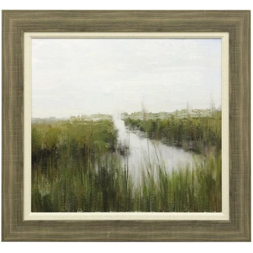 Style Craft - MARSHLAND  33in w. X 31in ht.  Textured Double Framed Landscape Print  Made in USA