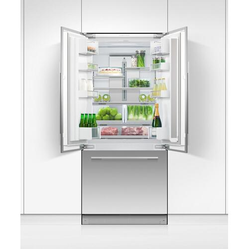 "Integrated French Door Refrigerator Freezer, 32"", Ice"
