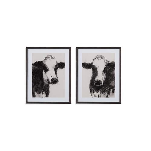 Bassett Mirror Company - 2 PC Cow Portrait Sketch