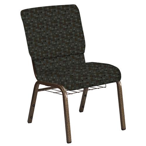 Flash Furniture - 18.5''W Church Chair in Empire Chocaqua Fabric with Book Rack - Gold Vein Frame