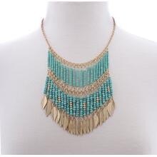 BTQ Turquoise and Gold Feather Necklace