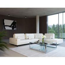 Accenti Italia Bellagio Italian Modern White Leather RAF Chaise Sectional Sofa