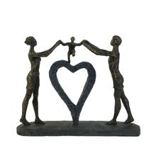 """View Product - Polyresin 15"""" Family W/ Heart Sculpture, Bronze"""