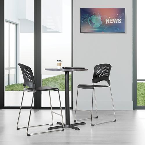 Office Star - Tall Stacking Chair With Plastic Seat and Back and Chrome Frame 4-pack