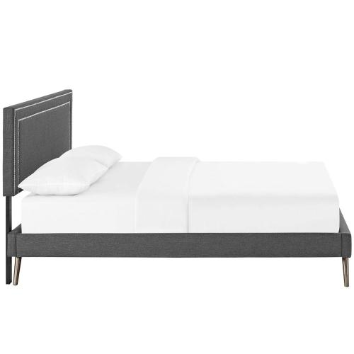 Modway - Virginia Full Fabric Platform Bed with Round Splayed Legs in Gray
