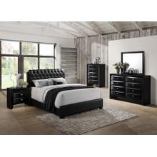 Blemerey 110 Black Wood bonded leather Bed Group QUEEN & KING Bed Dresser Mirror Night Stand Chest, King