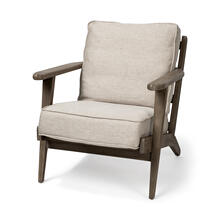 Olympus VI Beige Fabric Wrapped Wooden Frame Accent Chair