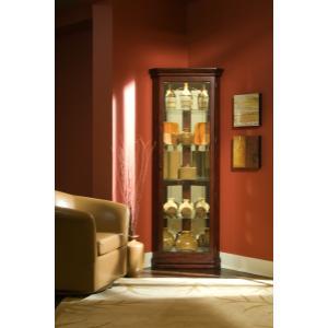 Pulaski Furniture - Mirrored 4 Shelf Corner Curio Cabinet in Victorian Brown
