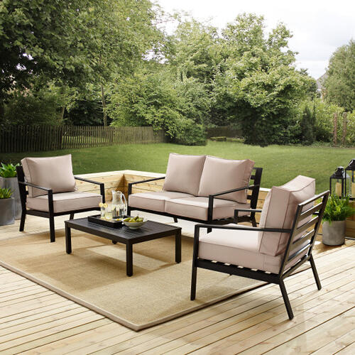 Slat Back Upholstered Outdoor Accent Chair in Black / Beige (Component 1 of 2)