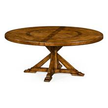 "72"" Country Walnut Round Dining Table with Inbuilt Lazy Susan"