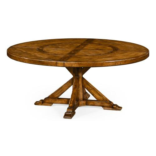 """72"""" Country Walnut Round Dining Table with Inbuilt Lazy Susan"""