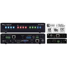 4K 18G Universal Format Switcher with 4 Inputs (2x HDMI, DP, VGA), HDMI and HDBaseT Mirrored Outputs with Rx Included, Audio De-Embed, CEC Display Control, Auto Switching. KD-App and KDPlug & Present™ Ready.