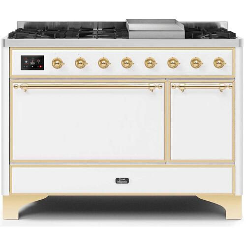 Majestic II 48 Inch Dual Fuel Liquid Propane Freestanding Range in White with Brass Trim