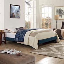 View Product - Loryn Full Fabric Bed Frame with Round Splayed Legs in Azure