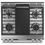 """Cafe Appliances 30"""" Smart Slide-In, Front-Control, Dual-Fuel, Double-Oven Range with Convection in Platinum Glass"""