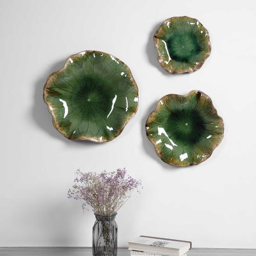 Abella Green Ceramic Wall Decor, S/3