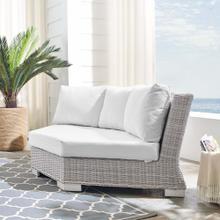 Conway Sunbrella® Outdoor Patio Wicker Rattan Round Corner Chair in Light Gray White