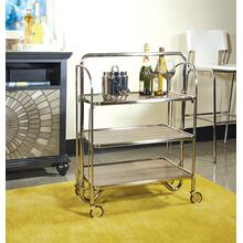 See Details - Sarita Folding Trolley In Brushed Nickel Finish With Three Tiers K/d With Casters