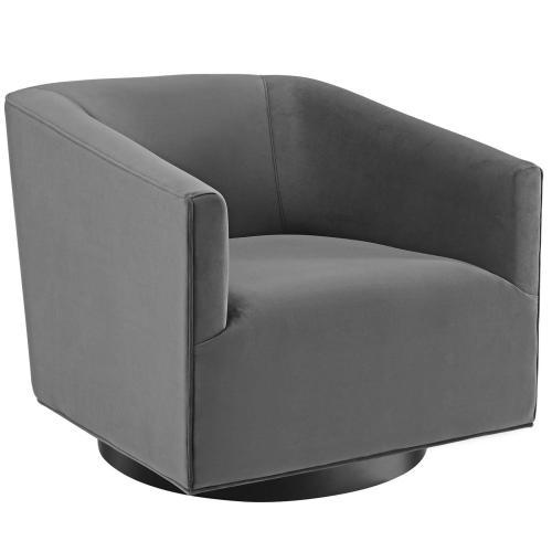 Twist Accent Lounge Performance Velvet Swivel Chair in Gray
