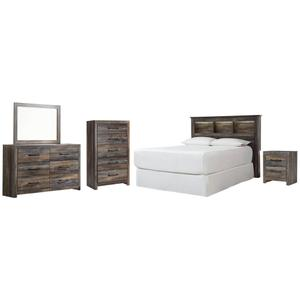 Ashley - Queen/full Bookcase Headboard With Mirrored Dresser, Chest and Nightstand
