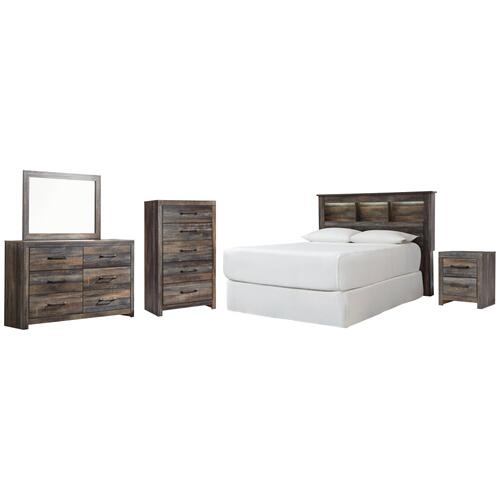 Queen/full Bookcase Headboard With Mirrored Dresser, Chest and Nightstand