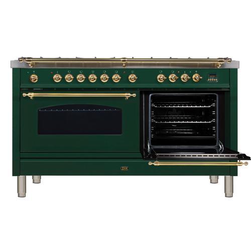 Nostalgie 60 Inch Dual Fuel Natural Gas Freestanding Range in Emerald Green with Brass Trim
