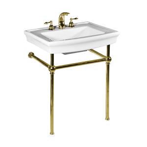 White JULIAN Console Lavatory with Polished Brass Metal Finish Product Image