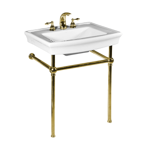 White JULIAN Console Lavatory with Polished Brass Metal Finish Product Image