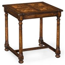 Square oyster parquet side table