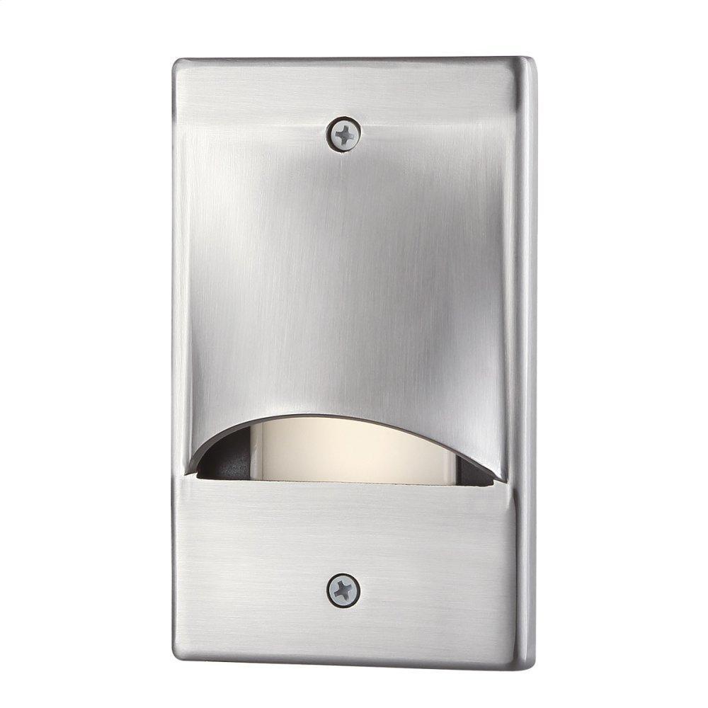 See Details - VERTICAL SCOOP TRIM LED STEP LIGHT - Brushed Nickel