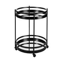 Ada Round Shape Black Metal Frame Two-Tier w/Glass Shelf Bar Cart