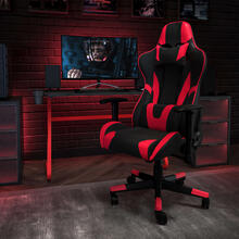 Red Gaming Desk and Red\/Black Reclining Gaming Chair Set with Cup Holder and Headphone Hook