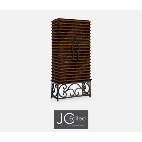 Rustic Walnut Wine Cabinet with Wrought Iron Base