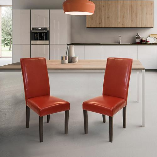 Red Bonded Leather Side Chair Md-014 (Set Of 2)