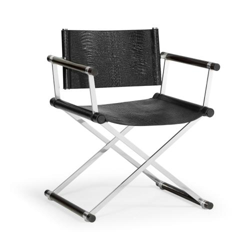 Campaign Style Dark Santos Rosewood Directors Chair, Upholstered in Faux Black Croc Leather