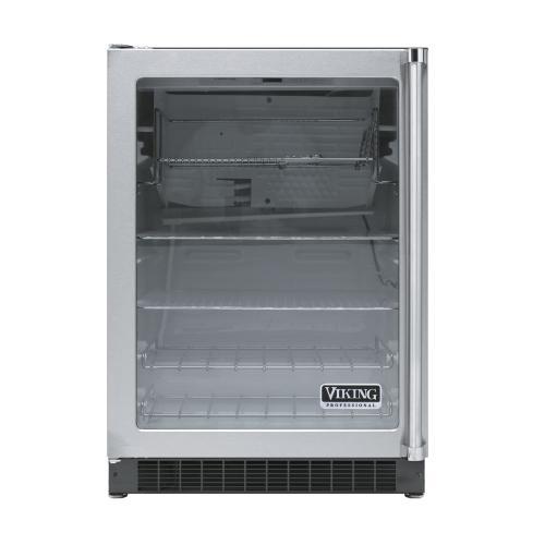 "Viking - Stainless Steel 24"" Glass Door Beverage Centers - VUAR (White Interior, Clear Glass, Left Hinge)"