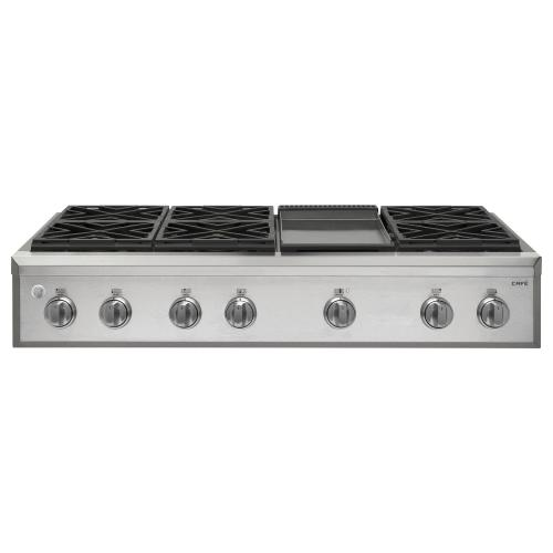 """GE Cafe - GE Cafe™ Series 48"""" Professional Gas Rangetop with 6 Burners and Griddle (Natural Gas)"""