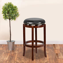 See Details - 29'' High Backless Light Cherry Wood Barstool with Black LeatherSoft Swivel Seat