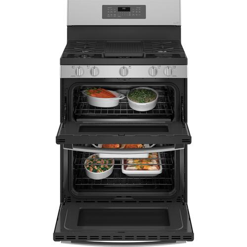 """GE Appliances - GE Profile™ 30"""" Free-Standing Gas Double Oven Convection Fingerprint Resistant Range with No Preheat Air Fry"""