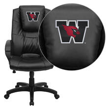 Wesleyan University Cardinals Embroidered Black Leather Executive Office Chair
