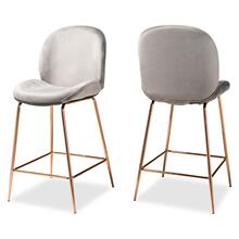 See Details - Baxton Studio Lander Modern Luxe and Glam Grey Velvet Fabric Upholstered and Rose Gold Finished Metal 2-Piece Counter Stool Set