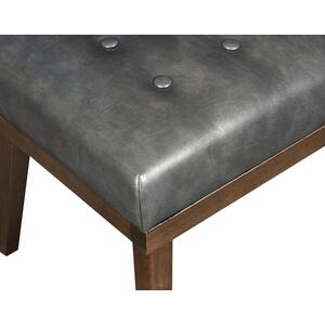 Upholstered Tufted Modern Bench in Charcoal Gray