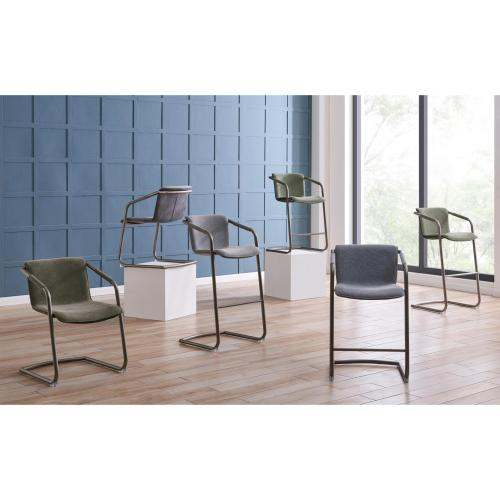 Product Image - Indy Fabric Dining Side Chair Silver Frame, Sage Gray/Velvet Gray