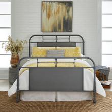 Queen Metal Bed - Grey