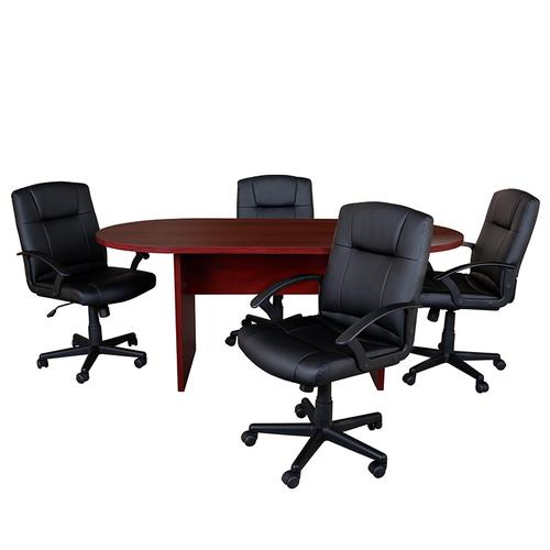 Gallery - 5 Piece Mahogany Oval Conference Table Set with 4 Black LeatherSoft-Padded Task Chairs
